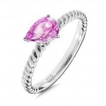 Sterling Silver Pink Sapphire Stacking Ring