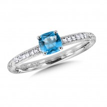 Sterling Silver Blue Topaz and White Sapphire Stacking Ring