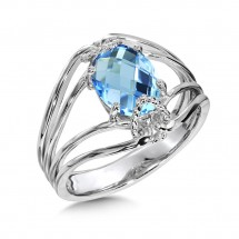 Blue Topaz Ring in Sterling Silver