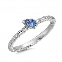 Created Blue Sapphire Ring in Sterling Silver