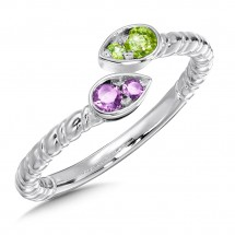 Amethyst & Peridot Ring in Sterling Silver