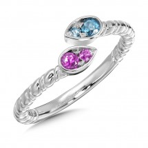 Blue Topaz & Pink Sapphire Ring in Sterling Silver
