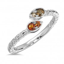 Madeira Citrine & Smoky Quartz Ring in Sterling Silver