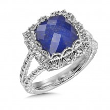 Lapis & Quartz Fusion Ring in Sterling Silver