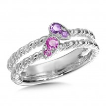 Amethyst & Pink Sapphire Ring in Sterling Silver