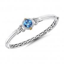 Sterling silver, 18k gold and london blue topaz bracelet