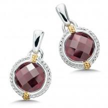 Sterling Silver, 18K Gold and Garnet Earrings