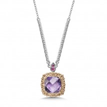 Ametheyst & Pink Sapphire Necklace in Sterling Silver & 18K Rose Gold