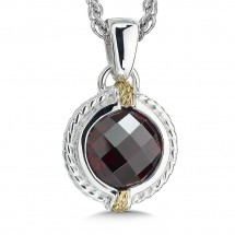 Sterling Silver, 18K Gold and Garnet Pendant