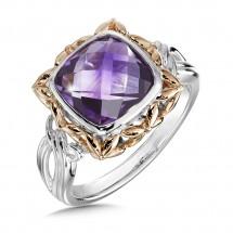 Amethyst Ring in Sterling Silver & 18K Rose Gold