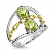 Peridot Ring in Sterling Silver & 18K Yellow Gold