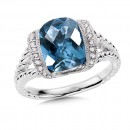 London Blue Topaz & Diamond Ring in 14K White Gold