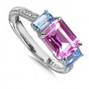 Sterling Silver, created pink sapphire and blue topaz  diamond ring
